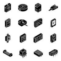 conjunto de ícones isométricos de hardware e ferramentas vetor