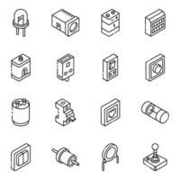 conjunto de ícones elétricos e isométricos de componentes vetor
