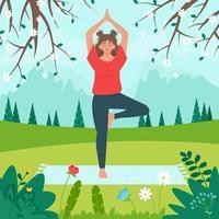 mulher fazendo ioga na paisagem de montanhas de primavera. relaxante conceito de aptidão saudável. atividade de verão. ilustração vetorial em estilo simples vetor