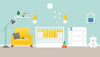 interior aconchegante do berçário, quarto do bebê, ilustração vetorial de estilo simples vetor