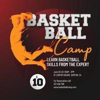 modelo de folheto de design de acampamento de basquete vetor
