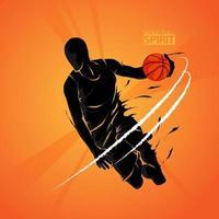 silhueta de basquete de salto e tiro vetor