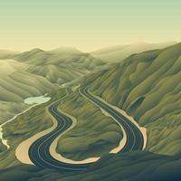 paisagem de montanha de estrada vetor