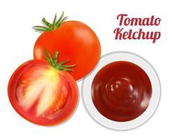 Suco de ketchup de tomate no prato com tomate vetor