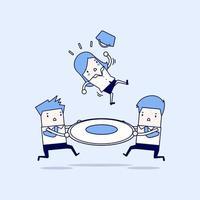 dois empresários ajudando uma empresária a cair vetor