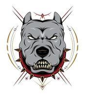 pit bull zangado com ornamento vetor