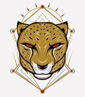 emblema do mascote da chita com ornamento vetor
