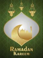 fundo ramadan kareem com lanterna árabe dourada e lua vetor