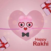 cartão comemorativo feliz raksha bandhan com rakhi criativo vetor