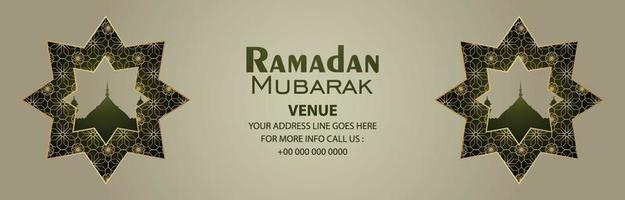 banner de celebração do ramadan kareem no fundo padrão vetor