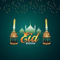 Ilustração em vetor eid mubarak festival islâmico com lanterna dourada e padrão