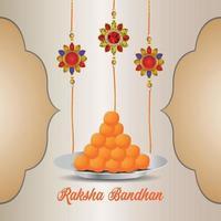 festival indiano de feliz festa raksha bandhan cartão comemorativo com cristal rakhi e doce vetor