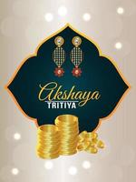 Cartão comemorativo akshaya tritiya com pote criativo de moedas de ouro e brincos de ouro vetor