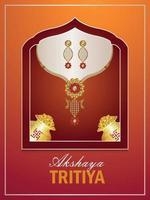 ilustração em vetor de folheto de promoção de venda akshaya tritiya com moedas de ouro e colar de ouro