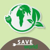 mundo com modelo de banner de conceito ecológico vetor