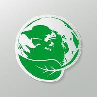 conceito de terra verde com folhas, natureza ecológica vetor