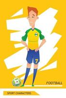 desenho de vetor de jogador de futebol de personagens esportivos