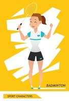 desenho vetorial de jogador de badminton personagens do esporte vetor