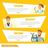 info graphic sport badminton, taekwondo e ciclista vetor