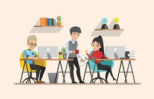 reunião de negócios. trabalho em equipe, trabalho compartilhado. desenho vetorial vetor