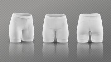 maquete de shorts de ciclismo feminino em posições diferentes. ilustração vetorial vetor