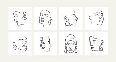 conjunto de retratos femininos com brincos. desenho de linha. vetor