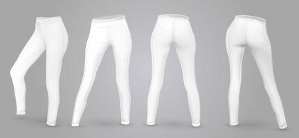 mulheres maquete de leggings em vista frontal e traseira, isolada em um fundo cinza. Ilustração vetorial realista 3D vetor
