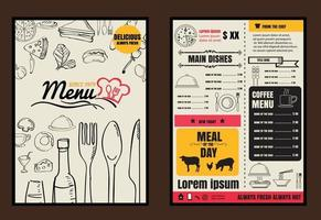 folheto ou pôster menu de comida de restaurante com fundo em formato vetorial vetor