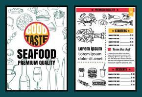 folheto ou pôster menu de frutos do mar do restaurante com fundo negro formato vetorial eps10 vetor