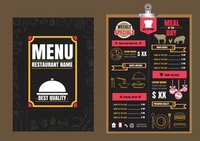 design de menu de comida de restaurante com fundo de quadro vetor