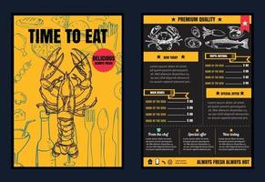 folheto ou pôster menu de comida de restaurante com fundo de quadro-negro formato vetorial vetor