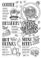 menu de café modelo de comida de restaurante vetor