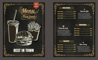 menu de fast food de restaurante em formato de vetor de quadro-negro eps10