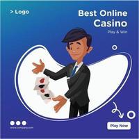 design de banner do melhor modelo de estilo de desenho animado de casino online vetor
