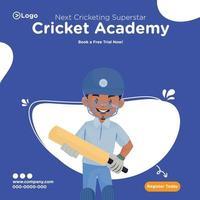 desenho do banner da próxima superestrela do críquete da ilustração da academia vetor
