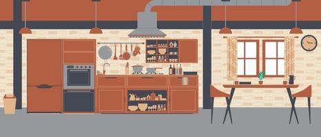design de sala de cozinha, sala de cozinha de tema marrom interior. vetor