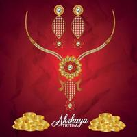 promoção de venda de joias de celebração akshaya tritiya com colar de ouro vetor