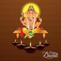 shubh diwali festival indiano da luz com ilustração vetorial do senhor ganesha e diwali diya vetor