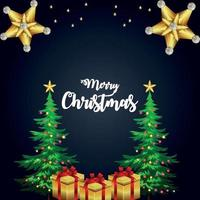 Cartão de feliz Natal para festa de convite com presentes criativos e árvore de Natal vetor