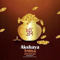 celebração de akshaya tritiya promoção de venda de festival indiano com pote de moedas de ouro vetor