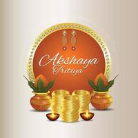 promoção de venda de celebração akshaya tritiya com moedas de ouro vetor