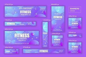 coleção de banners da web de diferentes tamanhos para redes sociais e móveis, anúncios de compras em cartaz e material de marketing vetor