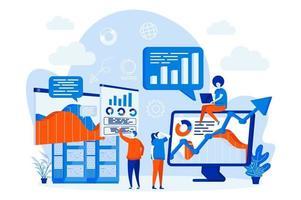 web design de análise de big data com personagens de pessoas vetor