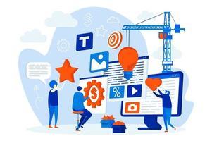 web design de agência criativa com personagens de pessoas vetor