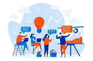 conceito de web design de treinamento empresarial com pessoas vetor
