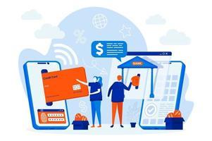 conceito de web design de mobile banking com personagens de pessoas vetor