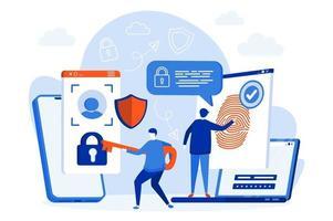 web design de controle de acesso biométrico com personagens de pessoas vetor