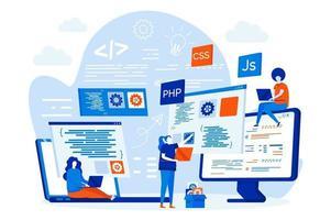 cursos de programação conceito de web design com pessoas vetor