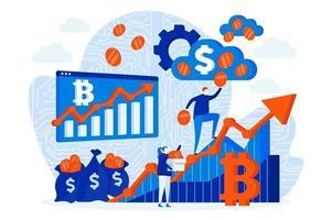 conceito de design de web de investimento em criptomoeda com pessoas vetor