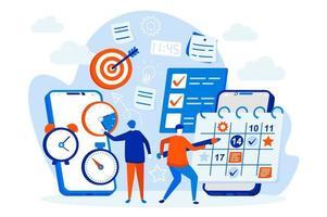 web design organizador móvel com personagens de pessoas vetor
